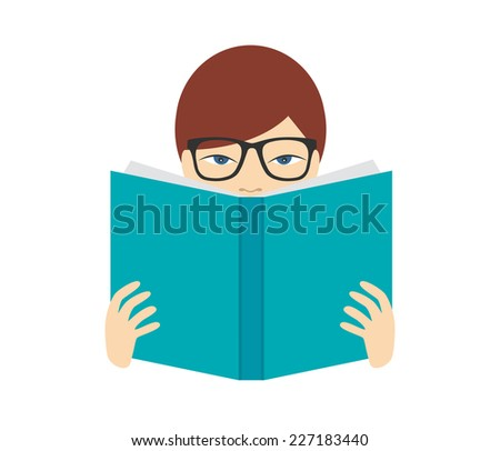 boy reading a book flat vector