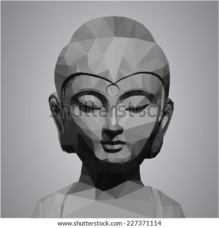 buddha head   low poly vector