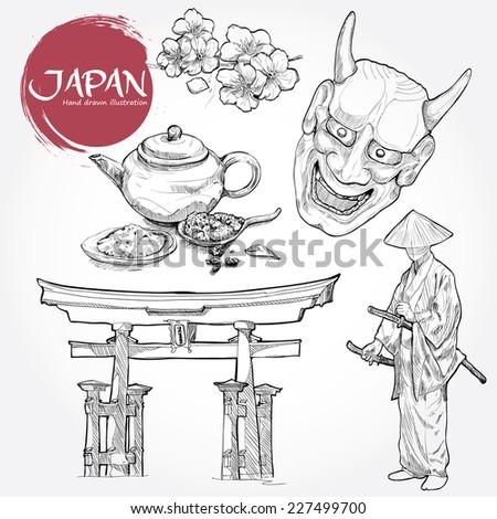 hand drawn japan design