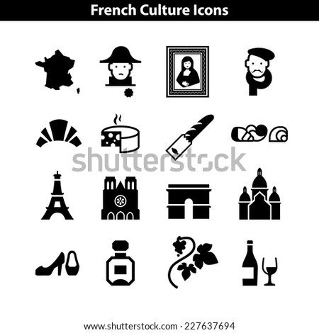 french culture icon set basic