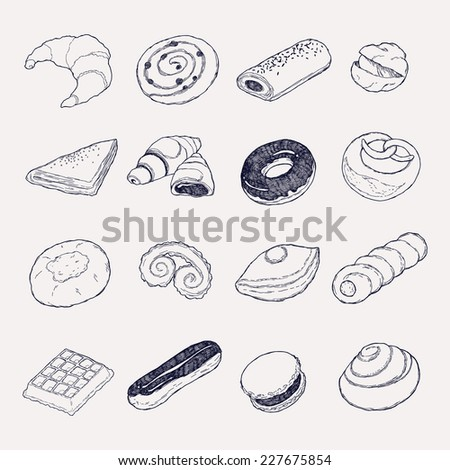 vector hand drawn pastries