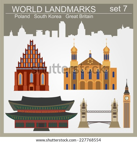 world landmarks icon set