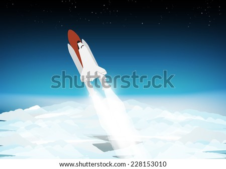 space shuttle above the clouds