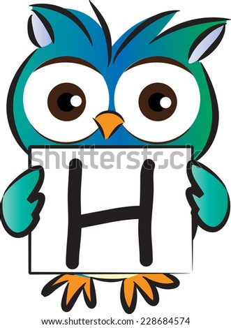 vector drawing owl holding a