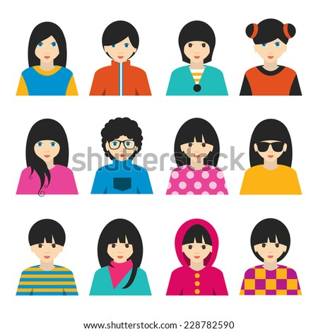 big set of avatars profile
