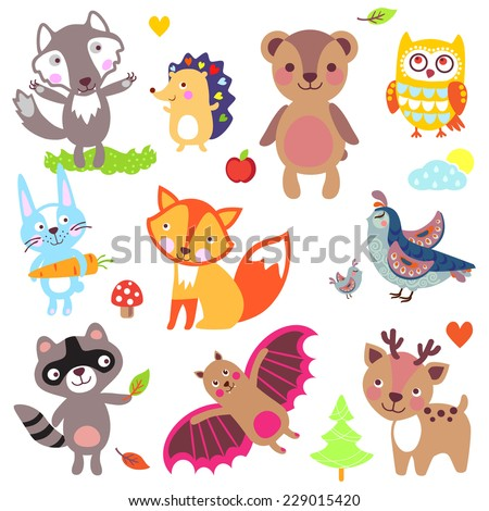forest animals set wolf