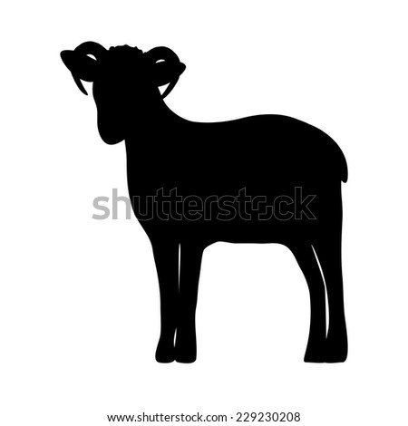 silhouette of a sheep on white