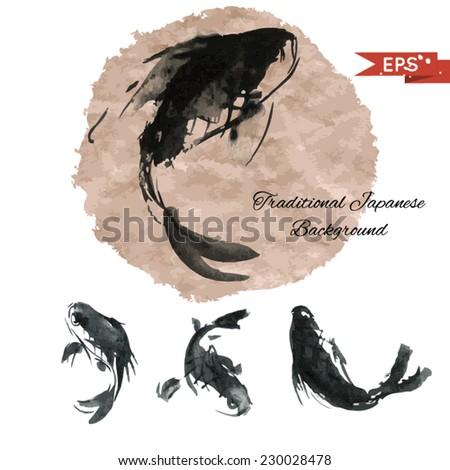 ink carp illustration in