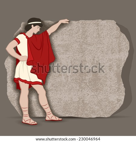 young greek standing at a piece