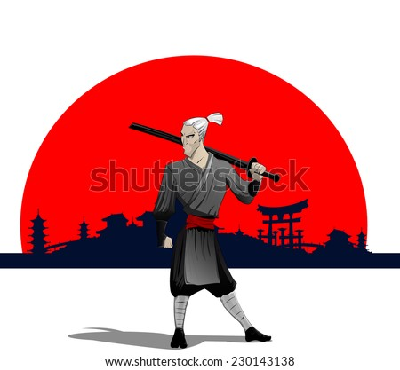 cartoon samurai with sword