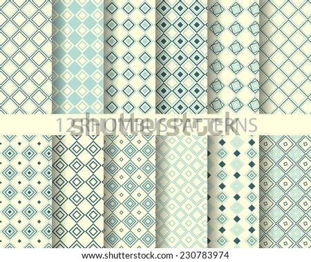 12 rhombus seamless patterns