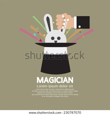 magician's hand with rabbit in