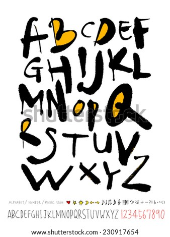 alphabet and numbers   hand