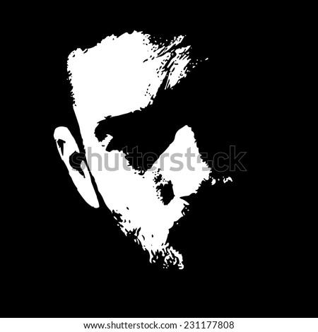 close up of serious man face