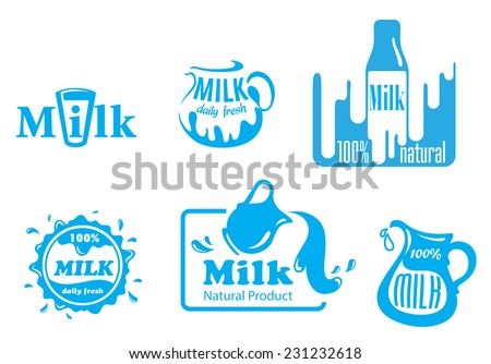 blue and white vector milk
