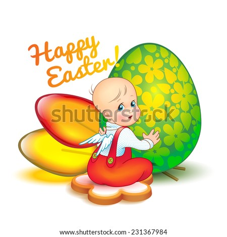 easter card with cute little
