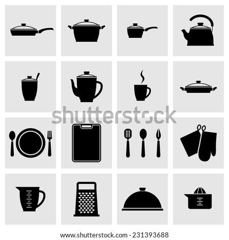 set of black kitchenware icons