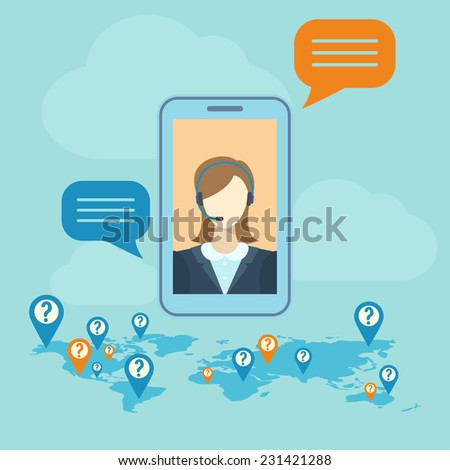 call center concept with woman