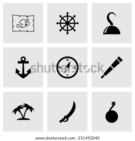 vector pirate icon set on grey