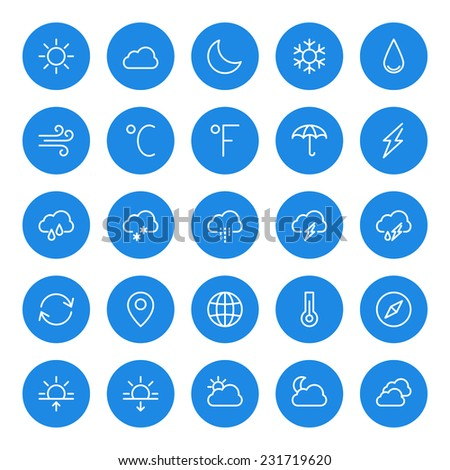 thin line weather icons set for