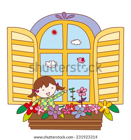 girl in window with flowers