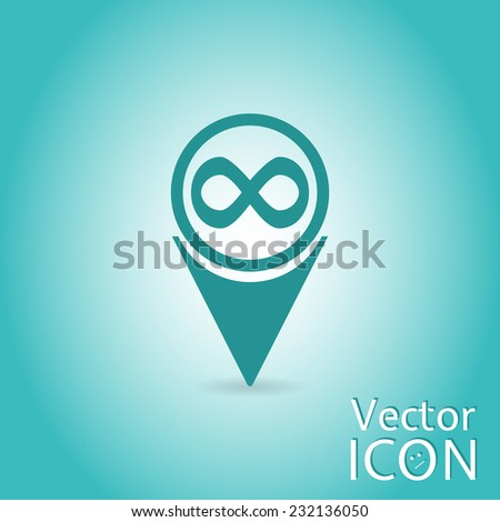 map pointer with infinity icon