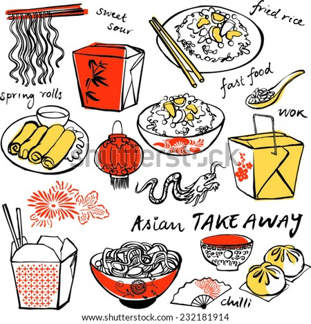 chinese food icons drawing