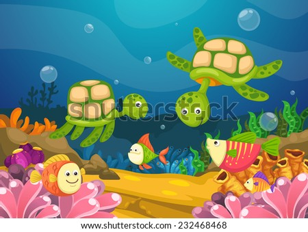 illustration of marine life