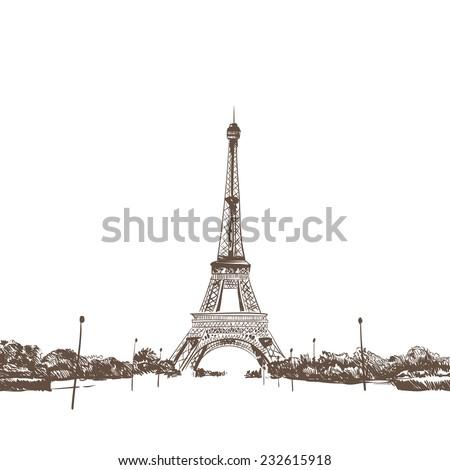 eiffel tower hand drawn  vector