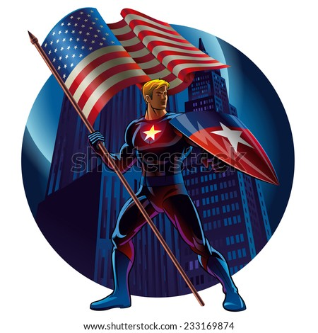 superhero with the american