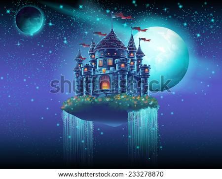 illustration of a flying castle