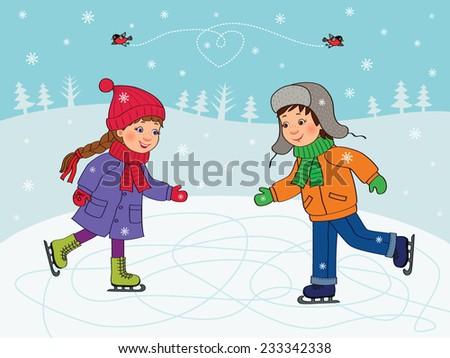 boy and girl skating winter