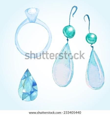 watercolor jewelry set  diamond