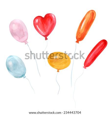 vector watercolor balloons it