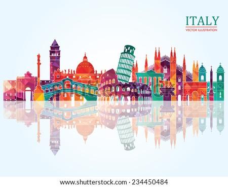 italy skyline vector