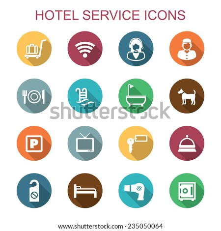 hotel service icons  flat