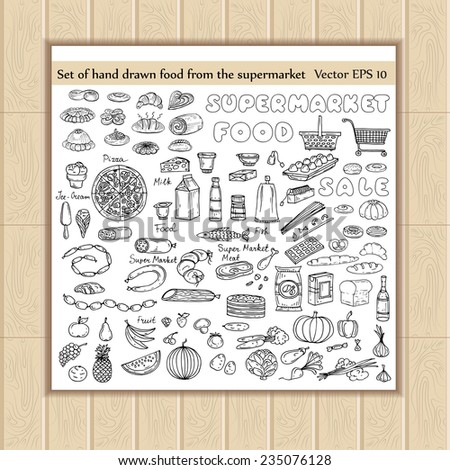 vector set of hand drawn food