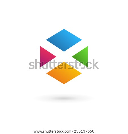 letter x cube logo icon design