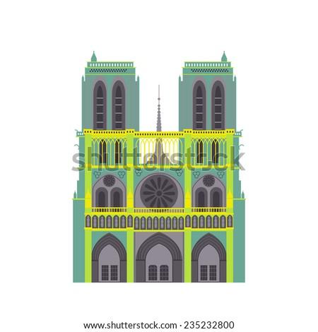 paris cathedral icon vector