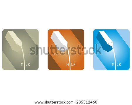 carton of milk in three color