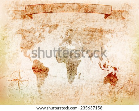 stock-vector-background-world-map-on-old-wall-with-cracks-and-the-windrose-banner-vector-illustration