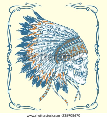 indian skull hand drawn vector