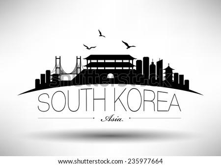 south korea skyline with
