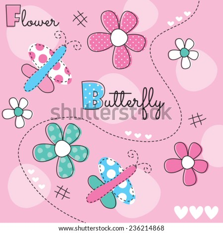 butterfly with flower vector