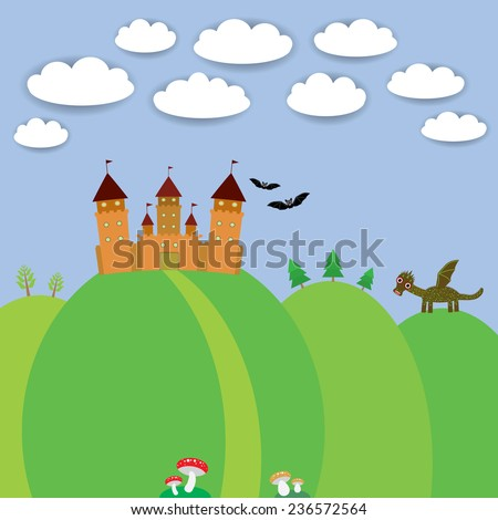 landscape with castle wizard