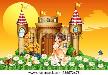 a princess and a knight outside