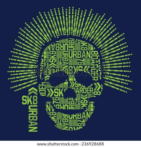 skull skate board typography  t