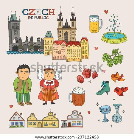 vector czech republic doodle