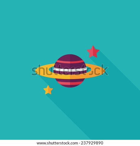 space planet flat icon with