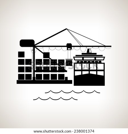 silhouette cargo container ship
